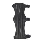 MagiDeal 1pc Archery Recurve Bow Arm Guard Artificial Leather 3 Straps Black