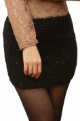 Dear-lover Women's Plush Elasticity Sequins Miniskirt
