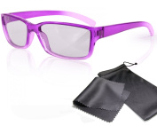"Passive 3D Glasses for Kids - High Quality - purple / transparent - for RealD cinema use and passive 3D TVs such as LG ""Cinema 3D"" and Philips ""Easy 3D""- circularly polarised - with pouch"