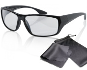"""Passive 3D Movie & TV Glasses - black - for RealD cinema use and passive 3D TVs such as LG """"Cinema 3D"""" and Philips """"Easy 3D""""- circularly polarised - with pouch"""