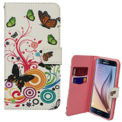 Xtra-Funky Exclusive Samsung Galaxy S6 PU Leather Wallet Case with Beautiful Stylish Multi Coloured Floral Flower & Butterflies Designs - B9