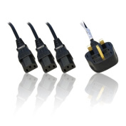 UK IEC C13 Mains 3 Way Y-Splitter Cable with Built in Surge Protection 1.5m