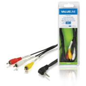 Valueline 1.00 m 3.5 mm Jack Male to 3x RCA Male AV Cable - Black