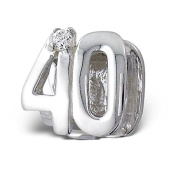 """Silvadore - Silver Bead - """"40"""" Forty Number Figure Numerals Mothers Birthday Crystal Cz - 925 Sterling Charm 3D Slide On 393 - Fits Pandora European Bracelet."""