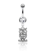 Surgical Steel Owl Dangle Belly Bar / Navel Ring with Clear CZ Gems