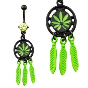 Gekko Body Jewellery Pot Leaf Dreamcatcher Dangle Belly Bar / Navel Ring with Green CZ Gem
