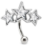 Gorgeous Unusual Clear Crystal Triple Star Eyebrow Bar Other Colours Available in our Pegasus Body Jewellery Amazon Shop