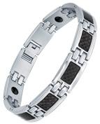 Stainless Steel Men's Black Carbon Fibre and Hematite Magnetic Therapy Polished Link Bracelet 21cm G7038TJ