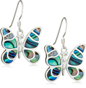 Tuscany Silver Pave Shell Butterfly Drop Earrings