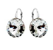 Made with. Crystals 925 Sterling Silver Clear Round Bridal Earrings for Women, Lever-Back