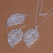 . Wedding Fashion 925 Silver Plated Jewellery Set Hook Earings Eardrop Necklace Skeleton Big Leaf