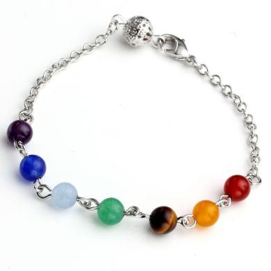 Jovivi 7 Chakra Stone Bracelet Crystal Reiki Healing Balancing- Pack of 2
