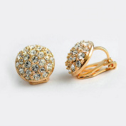 Yoursfs 18k Rose Gold Plated Used Shining Austria Multi-crystal Round Clip on Earrings for Women