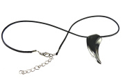 Mens Stainless Steel Tooth Pendant Black Faux Leather Choker Silver Tone Tooth Necklace