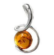 Amber Sterling Silver Round Funny Moon Pendant