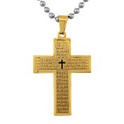 Stainless Steel Yellow Gold-Tone Large Cross Lord's Our Father Prayer English Pendant Necklace