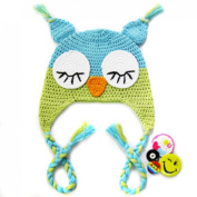 KF Baby Animal Beanie Hat, with Ear Flaps and Braids, Owl, Blue and Green + FREE Gift of 4 Pinback Buttons