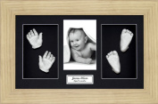 BabyRice Large Baby Casting Kit (great for Twins!), 37cm x 22cm Oak Effect Frame, Black mount, Silver metallic paint