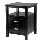 Winsome Solid Wood 2 Drawer Timber Night Stand Black Finish