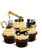 DIGGERS Mixed Truck Crane Boys 12 Standup Edible Premium Wafer Paper Cake Toppers Decoration 12 X 55Mm
