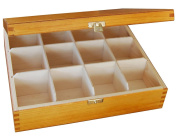 LACQUERED WOOD - WOODEN BOX TEA BAG CHEST 12 COMPARTMENT - DECOUPAGE olcha