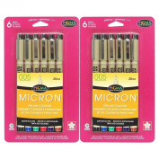 Sakura 30064 6-Piece Pigma Micron Assorted Colours 005 Ink Pen Set