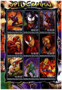 Marvel collectables / Spiderman Stamps for Collectors - Amazing artwork of Spiderman - never mounted - Mint never hinged