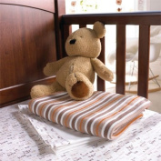 Izziwotnot Vincent Candy Stripe Knitted Blanket,Mocha, Cot/Cot Bed