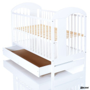 Baby Cot Bed LASSE white 120x60 maden of solid pine with XXL Drawer