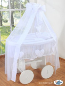 DELUXE HEART COLLECTION - LARGE WHEELED WHITE WICKER CRIB / MOSES BASKET / BASSINET / BABY COT WITH DRAPE / CANOPY NET - SOLID WOOD WHITE BASE + QUALITY WHITE BEDDING SET + QUALITY MATTRESS + CANOPY NET HOLDER