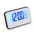 Huoshang 15cm Alarm Clock w/ Date Universal Time and Temperature Display, Snooze, Blue Background Light, Voice/Touch-activated Light - White