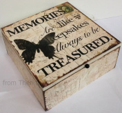 Memories Box Keepsake Wooden Memory Chest Chic Shabby Butterfly