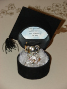 Glass Teddy Hat Graduation memento Gift, for a very special Occasion to Treasure Forever!