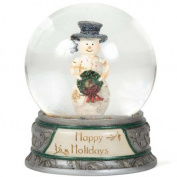 Happy Holidays SNOWGLOBE - Birch Hearts Snowmen / Snowman Collectable Ornament 81020