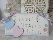 Personalised Door Sign / Plaque For Twin Boy and Girl Bedroom in Blue and Pink