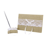 Rustic Burlap White Lace Embellished Vintager Wedding Guest Book Pen and Stand Set