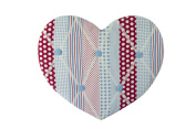 Vintage Blue Gingham Padded Fabric Heart Memo Board / Pin / Notice Board