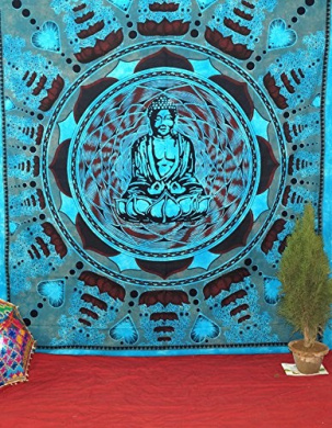 Indian Buddha on Psychedelic Dorm Tapestries Bed Sheet Wall Art Indian Bedspread Hippie Tapestry Cotton Fabric Huge Buddha Wall Hanging Queen Size 240cm X 210cm