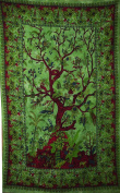 50 x 80 GREEN COVERLET WALL HANGING TAPESTRY tree of life Hippy India Decor