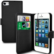 MobileConnect4U® Black PU Leather Wallet/Flip Case For iPhone 5/5S With Screen Protector And Stylus