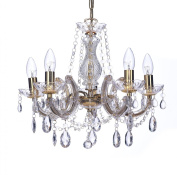 Marco Tielle Marie Therese Style Chandelier With Crystal Glass Column Body, Acrylic Arms, Beads & Sconces Finished in Polished Brass