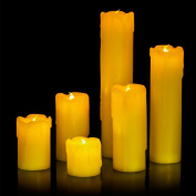 6 x Drip Battery Operated Slim LED Pillar Candles with Dripping Wax- Yellow LED