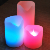 Set of 3 Colour Changing Led Flameless Wax Candles