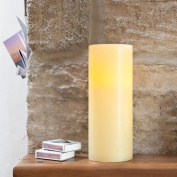 Large Church Pillar Battery Operated Wax LED Candle with Timer by Lights4fun