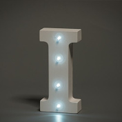Up in Lights Decorative LED Alphabet White Wooden Letters - Letter I