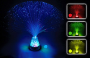 Fibre Optic Lamp Colour Changing Crystal Base - 4 Colours - 33cm Mood Novelty Lamp