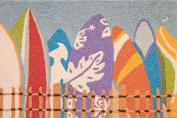 Daytona Surfers Colourful Surfboards Accent Area Rug 50cm X 80cm Jellybean