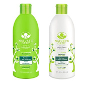 Nature's Gate Tea Tree Calming for Irritated, Flaky Scalp, Duo Set Shampoo & Conditioner, 530ml Each Bottle
