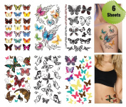 Supperb® 6 Mix Packs Butterfly Temporary Tattoo Sticker, Assorted Butterfly Designs
