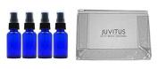 Cobalt Blue Glass Boston Round Treatment Pump Bottle - 30ml (4 Pack) Plus Clear Vinyl JUVITUS Travel Bag